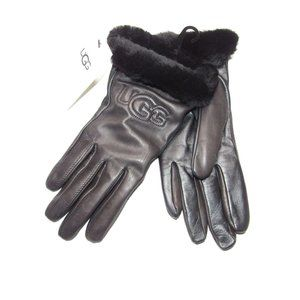 UGG CLASSIC LEATHER LOGO CASHMERE LINED GLOVES